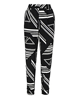 Black Print Tapered Trousers