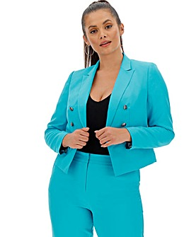 Blue Fashion Cropped Blazer