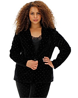 Black Velour Silver Gem Blazer