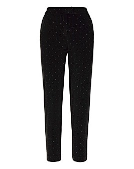 Black Velour Silver Gem Tapered Trousers