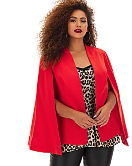 Red Tailored Cape Blazer