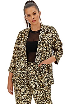 Leopard Print Satin Blazer