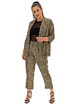 Leopard Print Satin Tapered Trousers