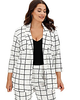 Mono Grid Check Jersey Blazer