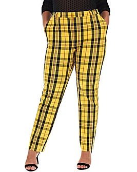 Yellow Check Stretch Tapered Trousers