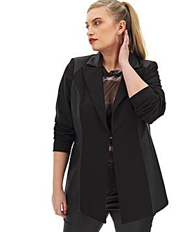 Black Pu Mix Blazer