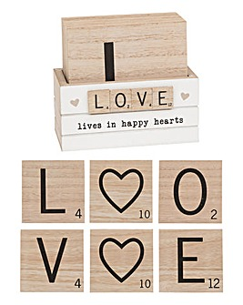 Scrabble Coasters Love set of 6
