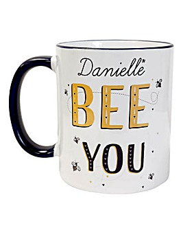 Personalised Bee You Navy Handled Mug