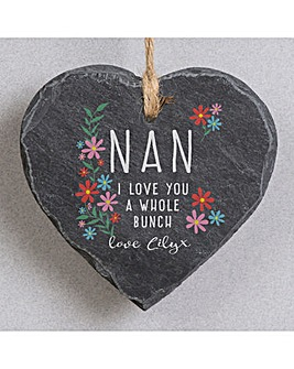 Personalised I Love You A Whole Bunch Hanging Slate