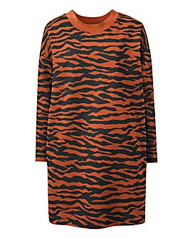 Zebra Print Basic Sweat Tunic