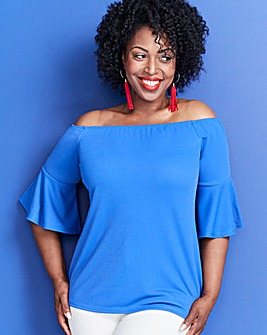Blue Split Sleeve Bardot Top