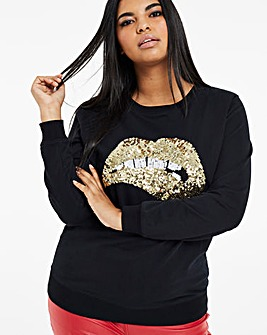 Sequin Lips Sweatshirt