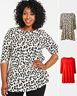 Red Leopard Pack of 2 Swing Tunics