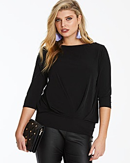 Black Long Sleeve Pleat Front Top