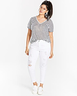 Blue Stripe Linen Mix V-neck T-shirt