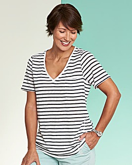 Blue Stripe Linen Mix V-neck T-shirt