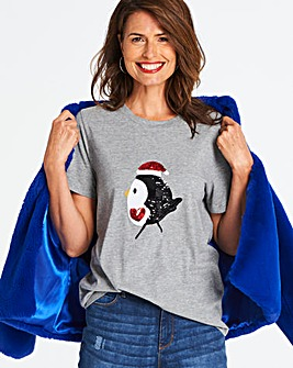 Robin Sequin Christmas T-shirt