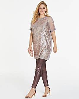 Sequin Front Mesh Sleeve Top