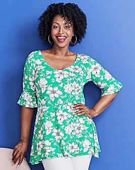 Green Print Ruffle Sleeve Tunic