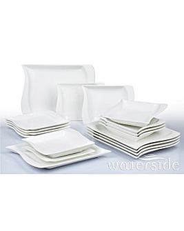 Wavy Square 18 Piece White Dinner Set