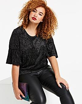 Black Glitter Velour Print Ruffle Sleeve Top