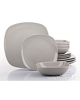 Kobe 12 Piece Square Dinner Set Grey