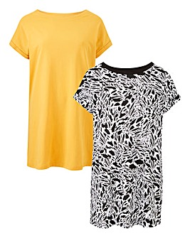 Mono/Ochre Pack of 2 Boyfriend T-shirts