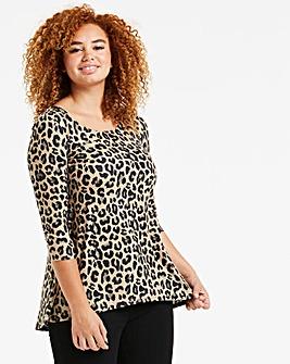 Leopard Print Dip Back Tunic