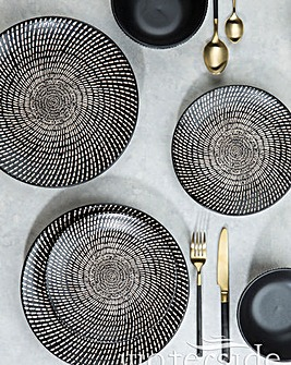 24pc Black & White Dash Print Dinner Set