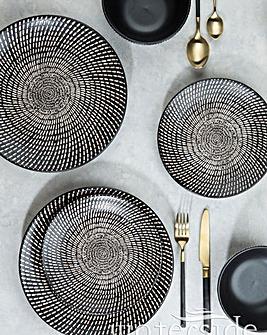 24pc Black & White Dash Print Dinner Set