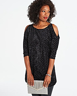 All Over Studded Cold Shoulder Tunic
