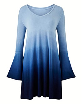 Blue/ Navy Dip Dye Bell Sleeve Tunic