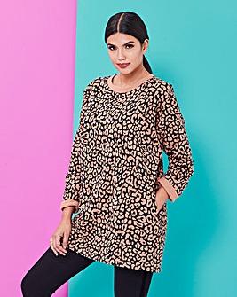 Leopard Print Sweatshirt Tunic