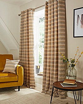 Rio Chevron Eyelet Lined Curtains