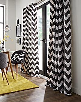 Chevron Printed Eyelet Curtains
