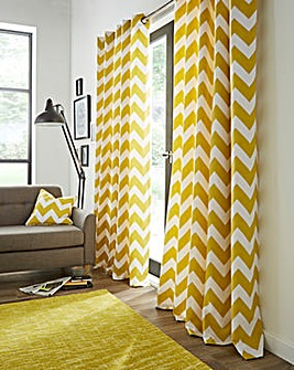 Chevron Printed Eyelet Curtains