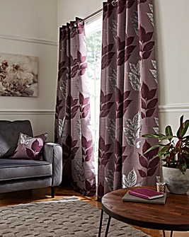 Blakely Leaf Metallic Jaquard Lined Eyelet Curtains