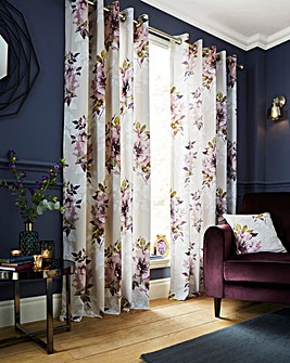 Dark Wonder Printed Eyelet Curtains