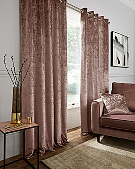 Crushed Velvet Long Length Lined Eyelet Curtains