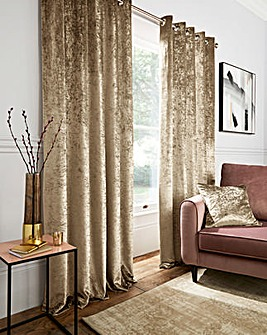 Crushed Velvet Long Eyelet Curtains