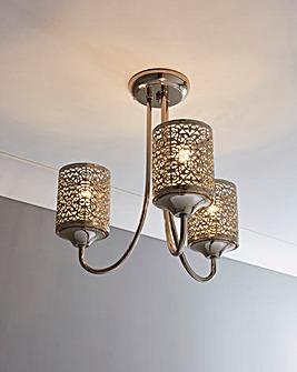 Jai Fretwork 3 Arm Ceiling Light