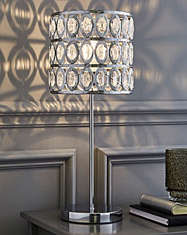 Chrome Table Lamp with Clear Beads
