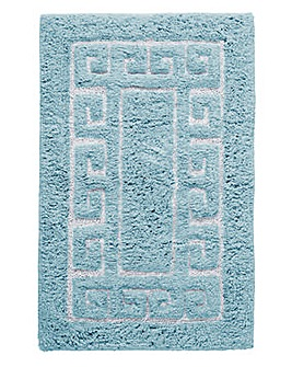 Greek Key Bath Mat- Duck Egg