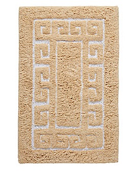 Greek Key Bath Mat- Mocha