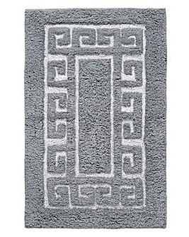 Greek Key Bath Mat- Grey