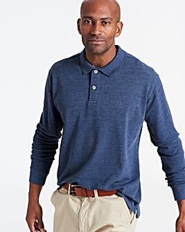 Denim Long Sleeve Embroid Polo Long