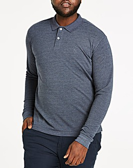 Denim Long Sleeve Embroid Polo Long