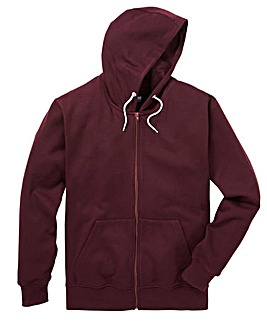Wine Full Zip Hoody Long