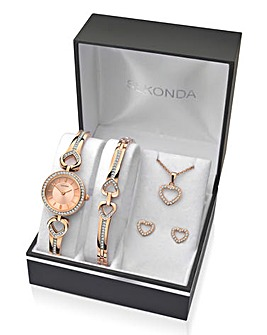 Sekonda Ladies Rose Tone Heart Watch and Jewellery Gift Set