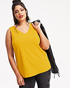 Mustard V-Neck Vest with Metal Ring